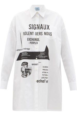 Prada Robe-chemise en popeline de coton à slogan