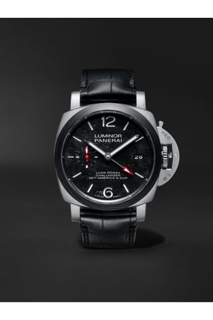 PANERAI Homme Montres - Luminor Luna Rossa Limited Edition Automatic GMT 42mm Titanium and Alligator Watch, Ref. No. PAM01096