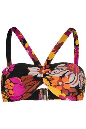 Saint Laurent Floral-print bikini top