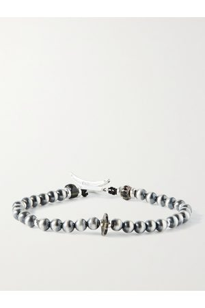 Mikia Sterling and Glass Beaded Bracelet