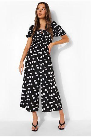 boohoo Femme Combinaisons - Combinaison Jupe-Culotte À Pois Nouée Devant À Manches Bouffantes