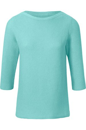 Peter Hahn Le pull 100% coton à manches 3/4 turquoise