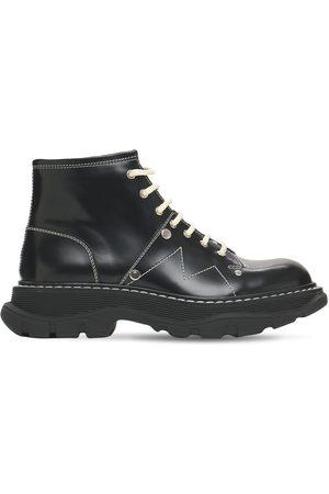 Alexander McQueen 40mm Tread Brushed Leather Combat Boots