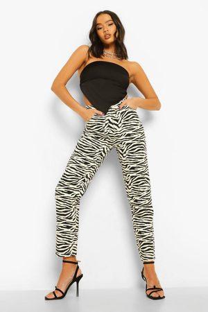 Boohoo Jean Mom Taille Haute Imprimé Zèbre