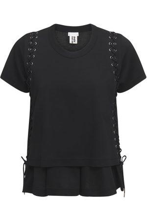 NOIR KEI NINOMIYA T-shirt En Jersey De Coton Avec Détail Lacets