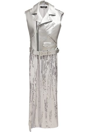 JUNYA WATANABE Femme Robes - Robe En Georgette À Sequins Et Simili Cuir