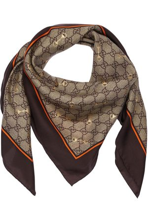 Gucci Femme Écharpes & Foulards - Gg Print Silk Scarf W/ Horsebit