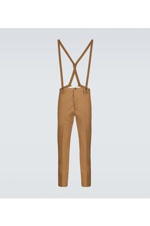 VISVIM Pantalon droit en laine et lin à bretelles