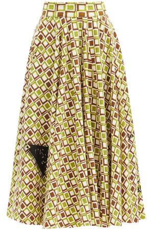Prada Femme Jupes imprimées - Jupe trapèze en coton à motif géométrique