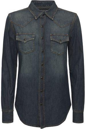 Saint Laurent Femme En jean - Chemise Style Western En Denim De Coton