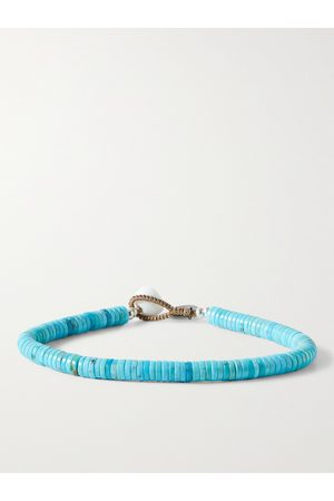 Mikia Homme Bracelets - Turquoise and Sterling Silver Beaded Bracelet