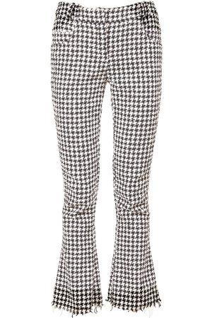 Balmain Pantalon Évasé En Coton Mélangé Pied-de-poule