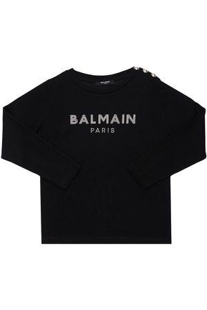 Balmain Fille Manches longues - T-shirt En Coton Bio Imprimé Manches Longues