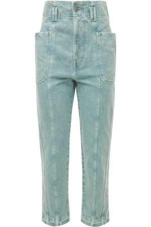 """Isabel Marant Femme Taille haute - Pantalon En Denim De Coton Taille Haute """"tucson"""""""