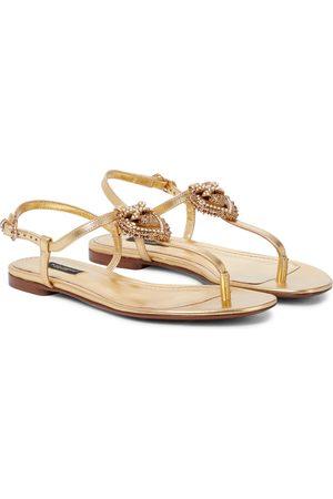 Dolce & Gabbana Sandales Devotion en cuir métallisé