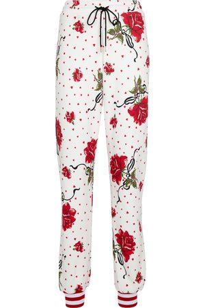 RODARTE Pantalon de survêtement en coton mélangé à fleurs