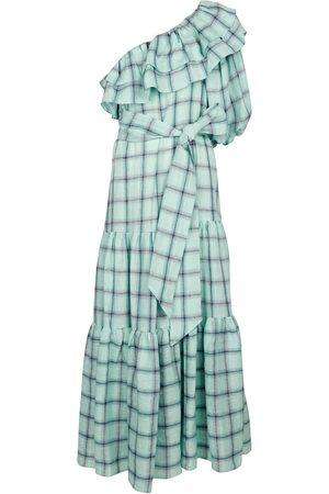 Lisa Marie Fernandez Robe longue Arden en lin à carreaux