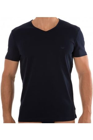 Emporio Armani Lot de 2 T-Shirts V-Neck Pure Cotton Marine - Gris