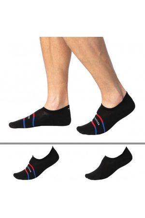 Tommy Hilfiger Lot de 2 Paires de Chaussettes Invisibles Stripe Noires
