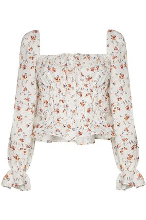 Reformation Femme Chemisiers - Floral-print long-sleeve blouse