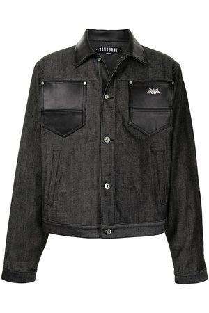 SANKUANZ Veste en jean à détail en cuir