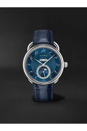 Hermès Arceau Grande Lune Automatic Moon-Phase 43mm Steel and Alligator Watch, Ref. No. 053222WW00