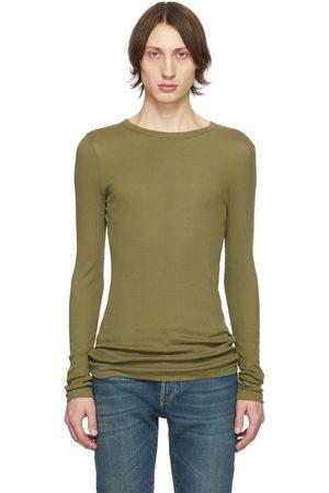 Saint Laurent T-shirt en jersey côtelé kaki