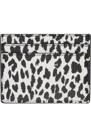 Saint Laurent Porte-cartes à motif léopard noir et blanc