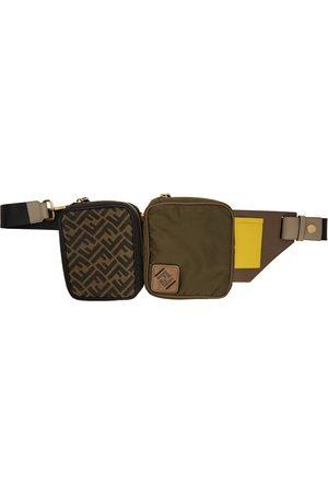 Fendi Sac-ceinture en toile vert et noir Multi Pouch 'Forever