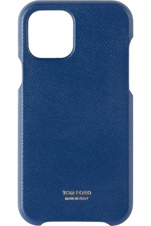 Tom Ford Étui pour iPhone 11 Pro en cuir grainé bleu marine