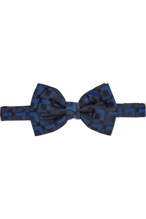 DRIES VAN NOTEN Nœud papillon en soie noir et bleu Squares