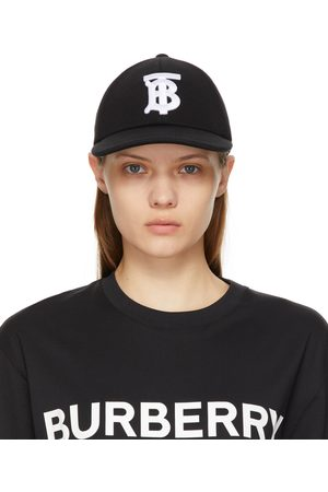 Burberry Casquette de base-ball en jersey de coton noire Monogram
