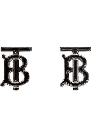 Burberry Boutons de manchette noirs et argentés TB