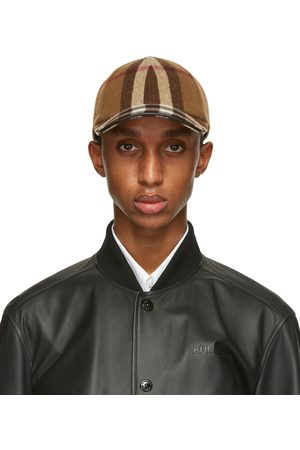 Burberry Casquette de base-ball en laine à carreaux brune
