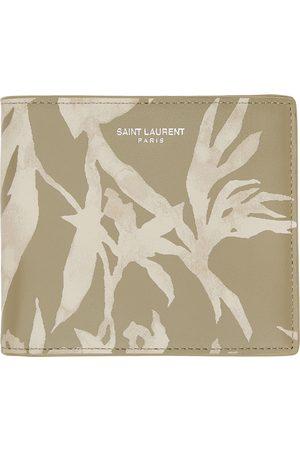 Saint Laurent Portefeuille à deux volets et imprimé beige et kaki