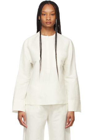 Totême Chemise blanche en lin à patte de boutonnage partielle