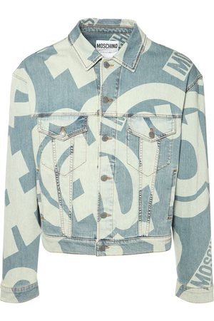 MOSCHINO Veste En Denim Stretch Imprimé Symboles