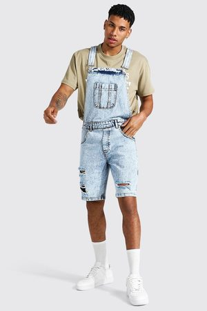 Boohoo Homme Shorts en jean - Relaxed Fit Distressed Short Dungaree Homme