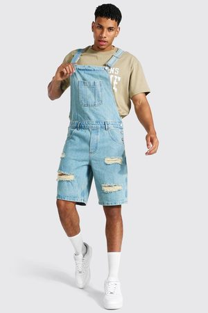 Boohoo Relaxed Fit Distressed Short Dungaree Homme