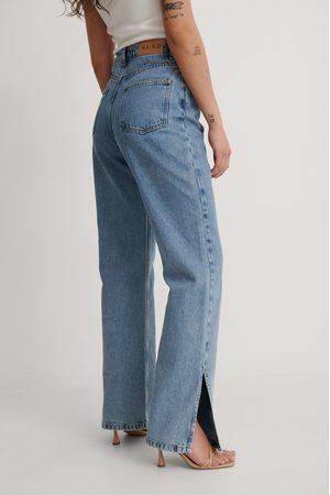 NA-KD Femme Taille haute - Recyclé Jean Taille Haute Bicolore À Fente Latérale - Blue