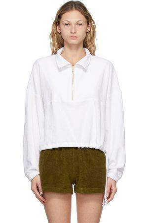 Gil Rodriguez Femme Pulls - Pull Diana blanc en tissu éponge à demi-glissière