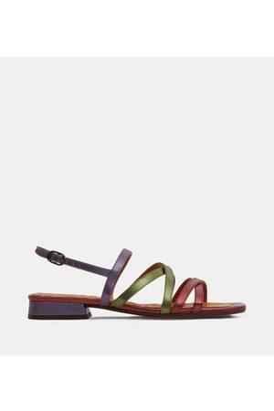 Chie Mihara Sandales plates Telo cuir effet métallisé