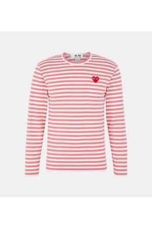Comme des Garçons T-shirt droit coton marinière manches longues patch c?ur