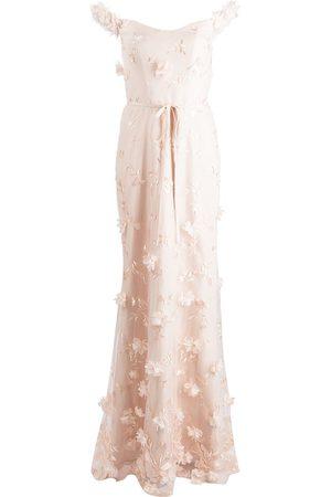 Marchesa Notte Robe longue à fleurs brodées