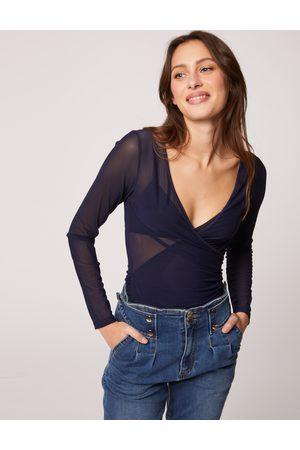 Morgan T-shirt manches longues semi-transparent marine femme