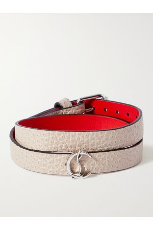 Christian Louboutin Homme Bracelets - Silver-Tone and Textured-Leather Wrap Bracelet