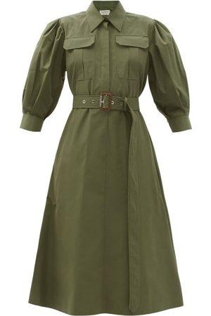 Alexander McQueen Robe-chemise midi en popeline de coton