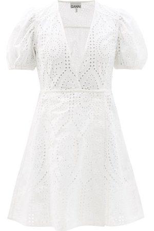 Ganni Femme Robes - Robe en coton biologique à broderie anglaise