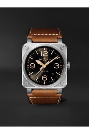 Bell & Ross Homme Montres - BR 03-92 Golden Heritage Limited Edition Automatic 42mm Stainless Steel and Leather Watch, Ref. No. BR0392-GH-ST/SCA
