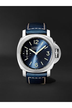 PANERAI Homme Montres - Luminor Blu Mare Hand-Wound 44mm Stainless Steel and Leather Watch, Ref. No. PAM1085